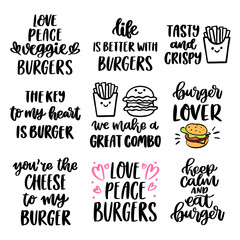 The hand-drawing set of 9 inscriptions about burgers and french fries. Vector image isolated on white background. Brush lettering style. It can be used for card, brochures, poster etc.