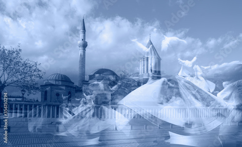 Fotomural Mausoleum of Mevlana - Whirling Dervish sufi religious dance / Konya, Turkey