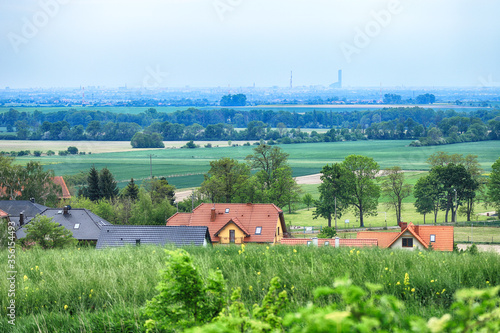 Obraz WROCLAW, POLAND - MAY 28, 2020: Panorama of Wroclaw, view from the Trzebnica hills (20 km in a straight line). - fototapety do salonu