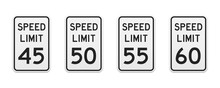 Speed Limit Traffic Signs From 45 To 60 Miles Per Hour. Set Of Vector Graphic Elements For Production, Design, Information Materials. Classic Urban Design.