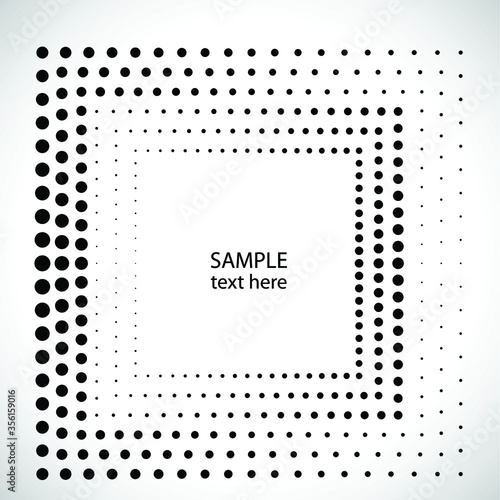 Halftone dots logo in Square form . vector dotted frame . design element Wall mural