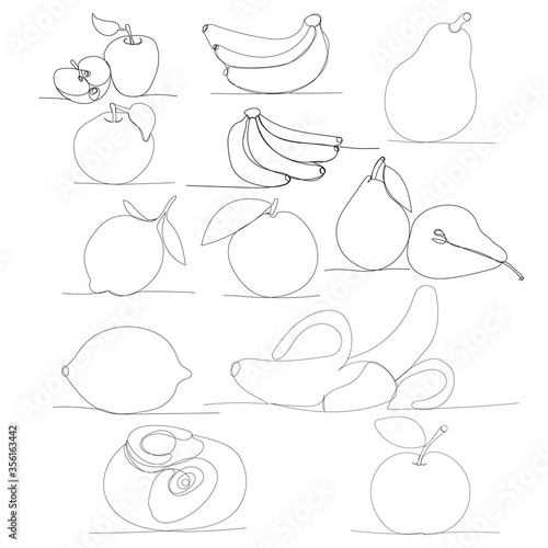 drawing a continuous line of fruits, set Fotomurales