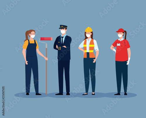 Obraz pilot with workers group in covid 19, workers wearing medical mask against coronavirus vector illustration design - fototapety do salonu