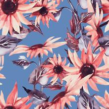 Sunflowers Seamless Pattern. W...