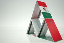 Flag Of Mexico On Bank Card House, Fictional Data. Financial Instability Related 3D Rendering