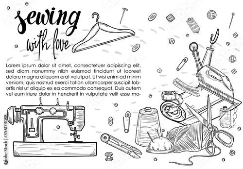 Photo Tailor or dressmaker work and fashion designer atelier sketch items