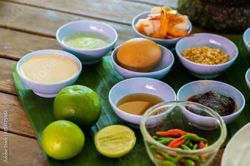 Photo Local and traditional Ingredient for Yum Hua Plee (Banana blossom salad), is prepared to cook the Thai food