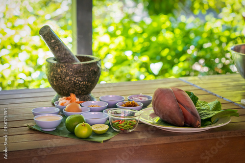 Local and traditional Ingredient for Yum Hua Plee (Banana blossom salad), is prepared to cook the Thai food Canvas Print