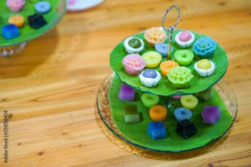 Canvas Print Varieties traditional colorful Thai desserts set; NamDokMai (steaming flour), Pi
