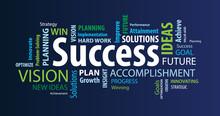 Success Word Cloud On A Blue B...