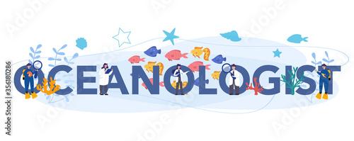 Fototapeta Oceanologist typographic header concept