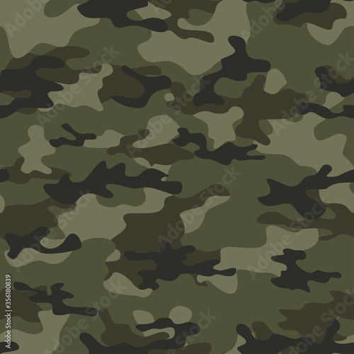 Fotografía Military camo seamless pattern forest background vector illustration