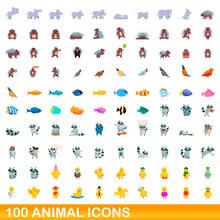 100 Animal Icons Set. Cartoon ...