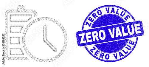 Photo Web mesh battery charge time pictogram and Zero Value seal stamp