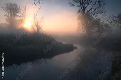 Obraz piękny wschód słońca nad rzeką  - fototapety do salonu