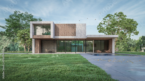 3d architectural visualization of the residential house Fotobehang