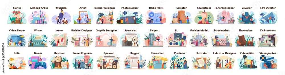 Fototapeta Artistic occupation set. Designer, dancer, artist, musician, florist