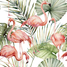 Watercolor Tropical Seamless Pattern With Pink Flamingo And Palm Leaves. Hand Painted Birds And Jungle Leaves. Floral Illustration Isolated On White Background For Design, Print Or Background.