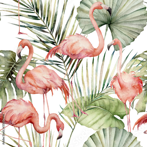 Fotografia, Obraz Watercolor tropical seamless pattern with pink flamingo and palm leaves