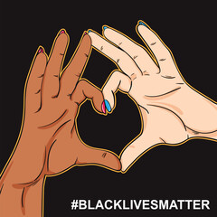 Black lives matter poster in pop art retro style, 2 hands black and white showing heart sign