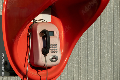 A red street cell phone. Retro. Canvas Print