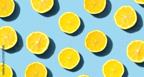 Photo Fresh yellow lemons overhead view - flat lay
