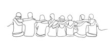 A Group Of Men And Women Sitting Together Have Their Friendship One Line Drawing. Single Continuous Line Drawing About Group Of Men And Woman From Multi Ethnic Standing Together Vector Illustration.