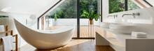 Luxury Attic Bathroom With Bat...