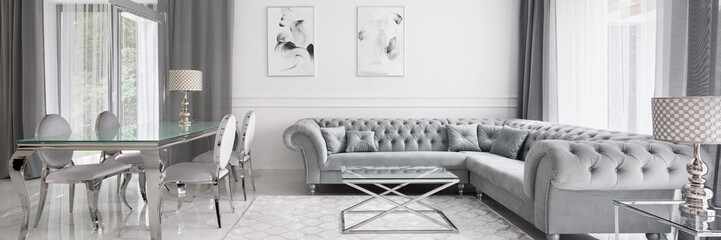 Panorama of glamour designed living room