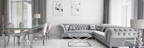 Fotografering Panorama of glamour designed living room