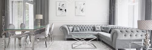 Obraz Panorama of glamour designed living room - fototapety do salonu
