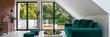 Leinwandbild Motiv Panorama of attic living room
