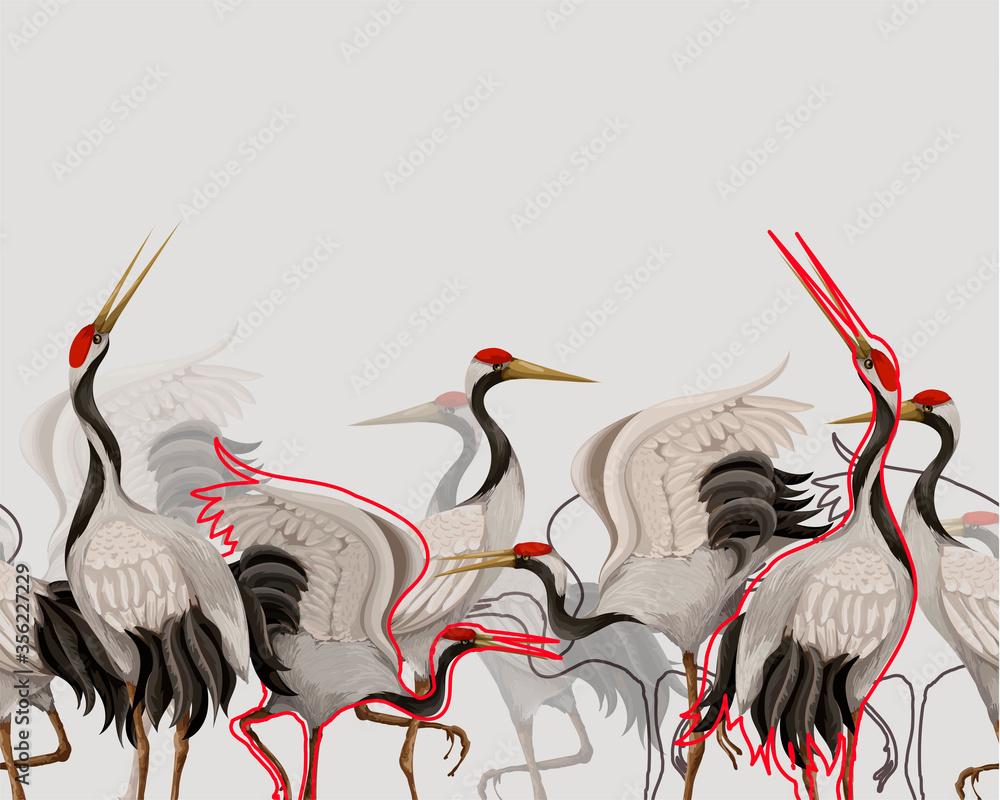 Border with Japanese white cranes. Oriental wallpaper.