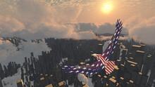 Eagle Flies Above Futuristic M...