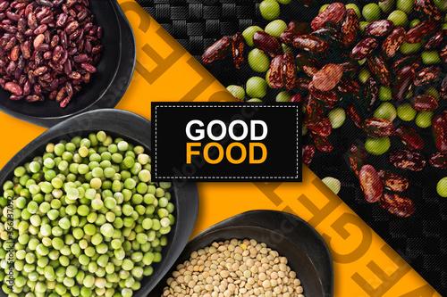 Photo Vegetales y granos, comida saludable