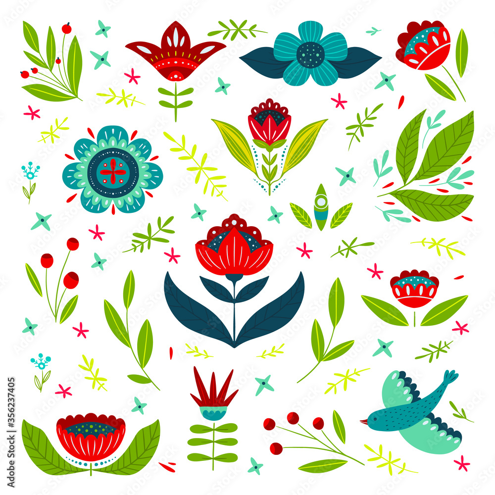 Folk Art set with different flowers in hand drawn style isolated on white