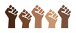Black Lives Matter proud fists, black history pride, brown skin isolated, hand up gesture discrimination activism vector illustration, african american, people of color, power, graphic design.