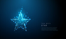 Abstract Blue Star. Low Poly Style Design.