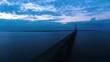 4K Aerial footage of Mackinac Bridge in Michigan during sunset
