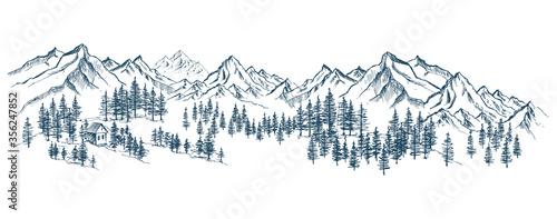 Fototapeta Mountain landscape, hand drawn illustration obraz