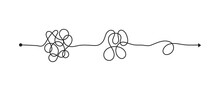 Tangled Line, Complex Knot Rests In Straight Line, Isolated Vector Illustration