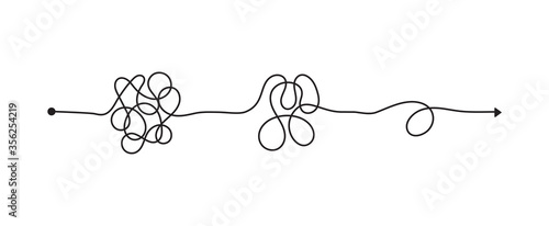 Obraz na plátně Tangled line, complex knot rests in straight line, isolated vector illustration