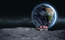 Moon Rover On The . Space Expedition. Surface. 3d Rendering. Elements Of This Image Furnished By NASA