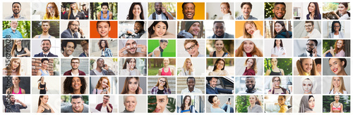 Obraz Collage of diverse multiethnic candid people smiling over colorful background - fototapety do salonu