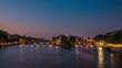 Seine river with Île de la Cité and Pont Neuf at dawn