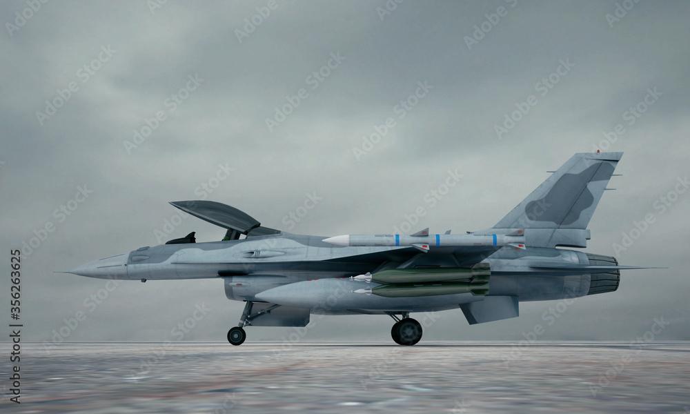 Fototapeta F 16 , american military fighter plane. 3d render