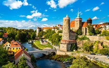 View Of Bautzen And The Hauptspree River In Germany