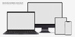 Set of realistic computer monitor, laptop, tablet and mobile phone - Editable isolated screen - Electronic gadgets dark gray version on white background