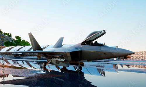 f 22 raptor, military fighter jet Canvas Print
