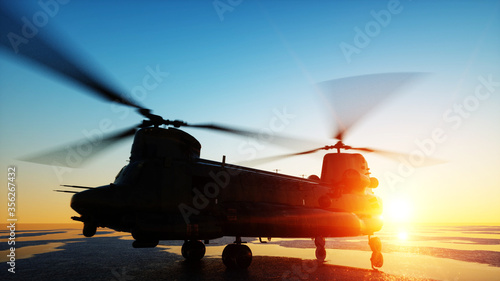Fotografie, Tablou Military helicopter chinook, wonderfull sunset. 3d rendering.